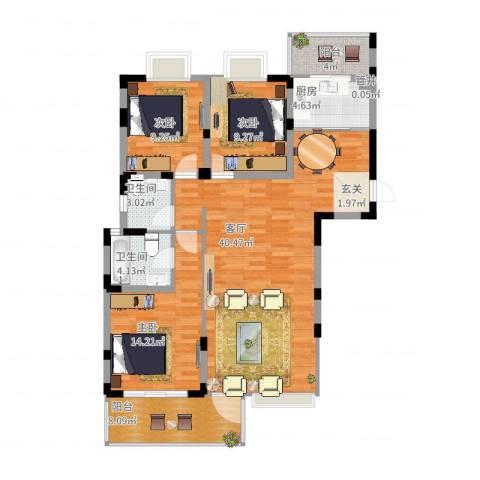 南桥春天3室1厅2卫1厨137.00㎡户型图