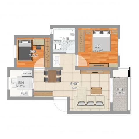 金硕河畔景园14号201室2室2厅1卫1厨71.00㎡户型图
