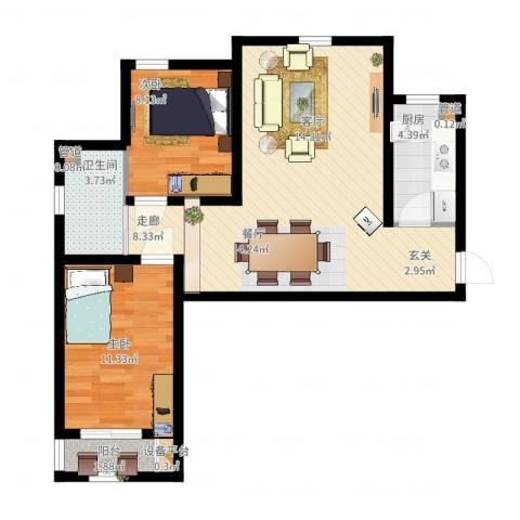 紫韵枫尚2室2厅1卫1厨87.00㎡户型图
