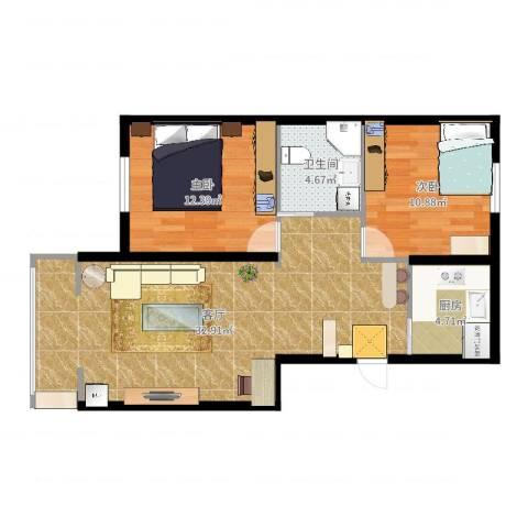 德顺园2室1厅1卫1厨82.00㎡户型图