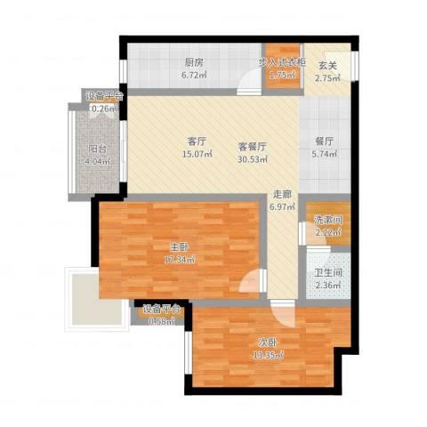 万科东第2室2厅1卫1厨99.00㎡户型图