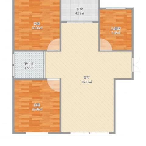 君豪绿园3室1厅1卫1厨99.00㎡户型图
