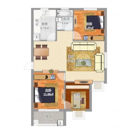 联丰北区3室1厅1卫1厨86.00㎡户型图