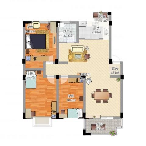 安正御龙湾3室2厅1卫1厨136.00㎡户型图