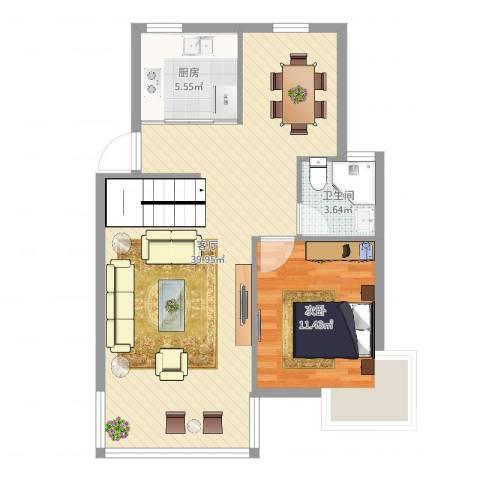 华泰剑桥1室1厅1卫1厨76.00㎡户型图