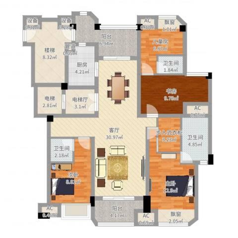 保利紫晶山4室1厅3卫1厨142.00㎡户型图