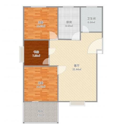 重庆公馆3室1厅1卫1厨120.00㎡户型图