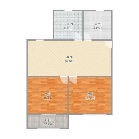 平吉二村2室1厅1卫1厨104.00㎡户型图