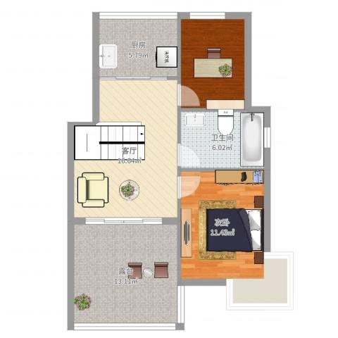 华泰剑桥1室1厅1卫1厨75.00㎡户型图