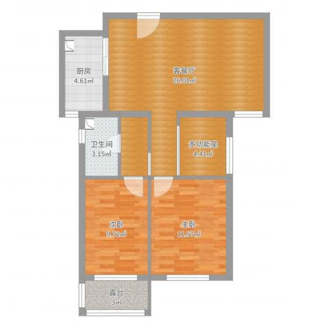 长葛盛合中央花园2室2厅1卫1厨81.00㎡户型图