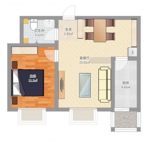 安鑫苑1室2厅1卫1厨55.00㎡户型图
