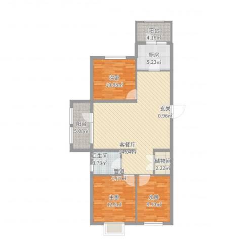 开元溪府3室2厅1卫1厨124.00㎡户型图