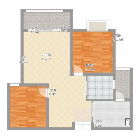 香堤雅郡2室2厅1卫1厨95.00㎡户型图