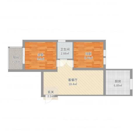 大陆商厦2室2厅1卫1厨63.00㎡户型图