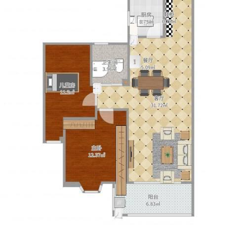 姚江上上城2室1厅1卫1厨88.00㎡户型图