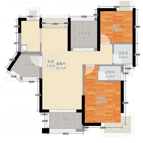 鸿晖・依岸康堤2室2厅2卫0厨85.00㎡户型图