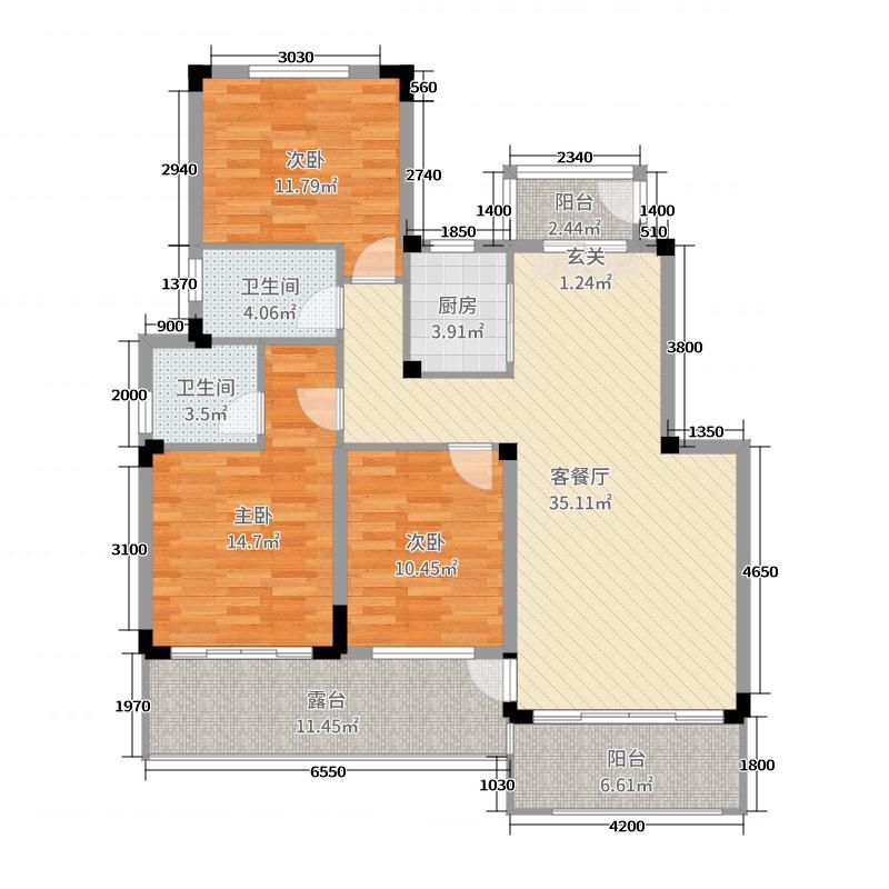 凯光・中央庄园115.52㎡A-II波托菲诺C3'花园洋房户型3室3厅2卫1厨