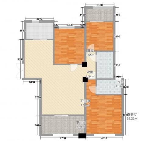 侨成金沙城3室2厅2卫1厨100.32㎡户型图