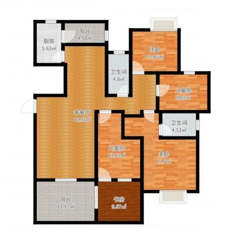 中海胥江府5室2厅2卫1厨178.00㎡户型图