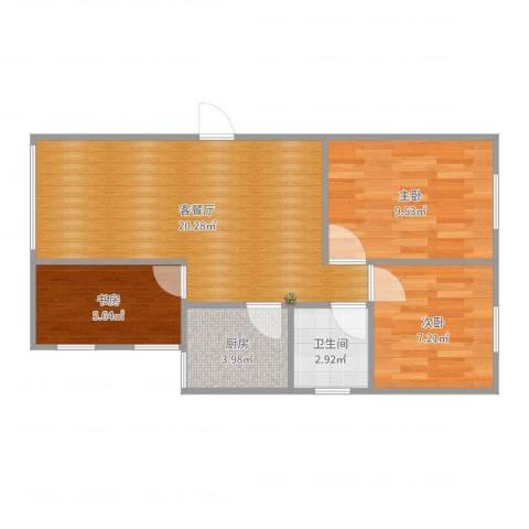 星晨花园六期3室2厅1卫1厨62.00㎡户型图