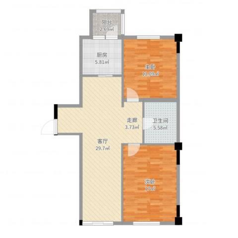 天富御苑2室1厅1卫1厨92.00㎡户型图