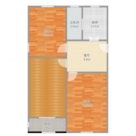 张桥小区2室1厅1卫1厨66.51㎡户型图