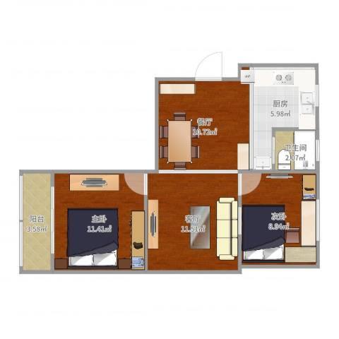 张桥小区2室2厅1卫1厨54.21㎡户型图