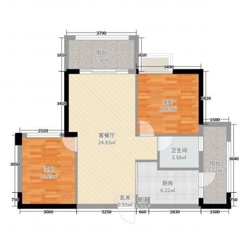 沃华・时代广场2室2厅1卫1厨80.00㎡户型图