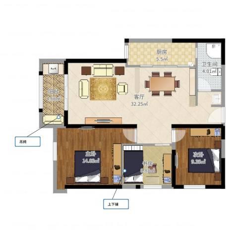 华尔国际3室1厅1卫1厨96.00㎡户型图