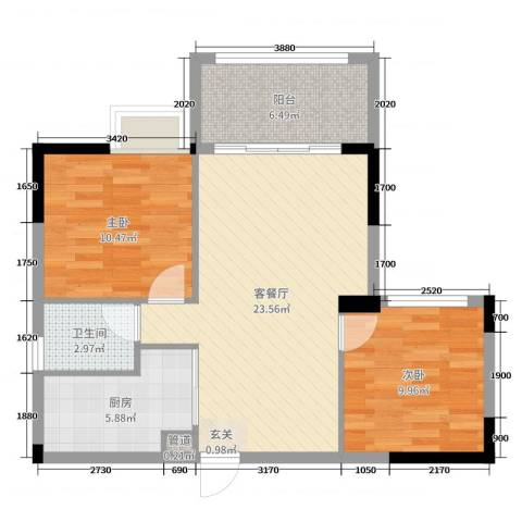 沃华・时代广场2室2厅1卫1厨83.00㎡户型图