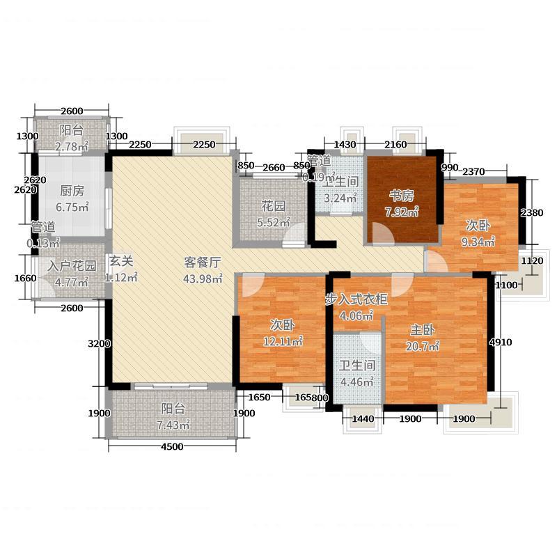 自由人花园160.00㎡G3户型4室4厅2卫1厨