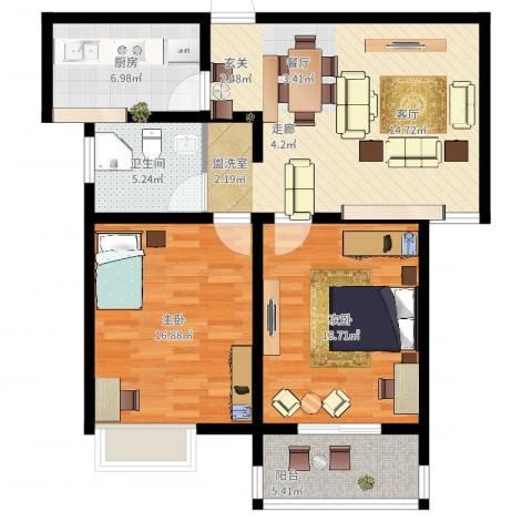 爱琴海花园2室2厅1卫1厨111.00㎡户型图