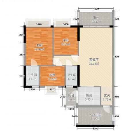 嘉逸园3室2厅2卫1厨120.00㎡户型图