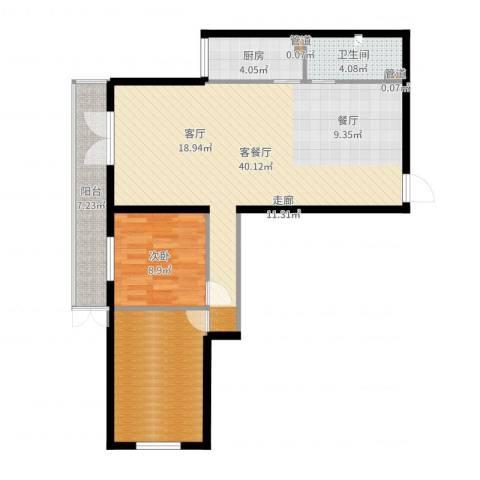 东丽温泉家园1室2厅1卫1厨96.00㎡户型图