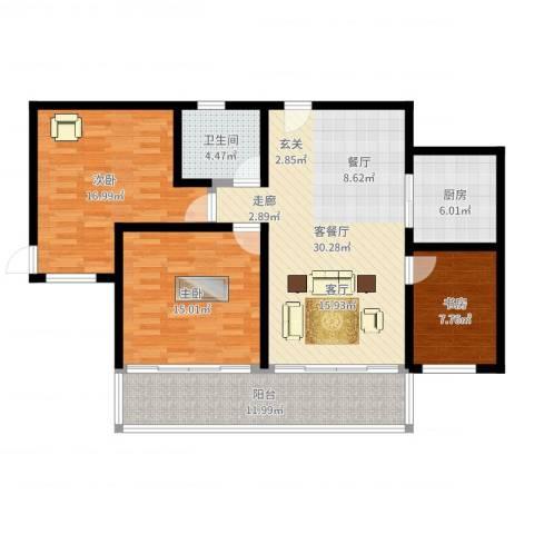 西湖花园3室2厅1卫1厨116.00㎡户型图