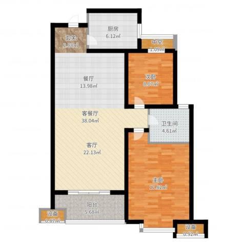 宝林大东关颐景园2室2厅1卫1厨104.00㎡户型图