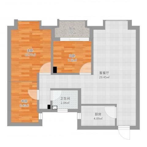 景瑞望府3室2厅1卫1厨82.00㎡户型图