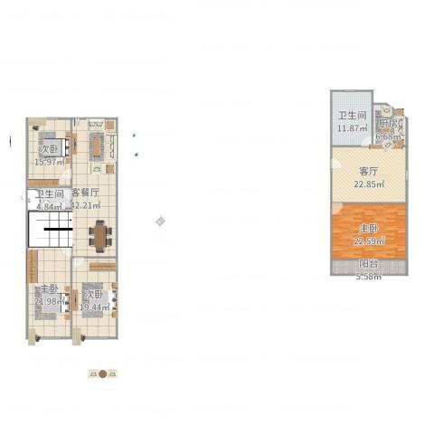 建业新村4室3厅2卫1厨218.00㎡户型图