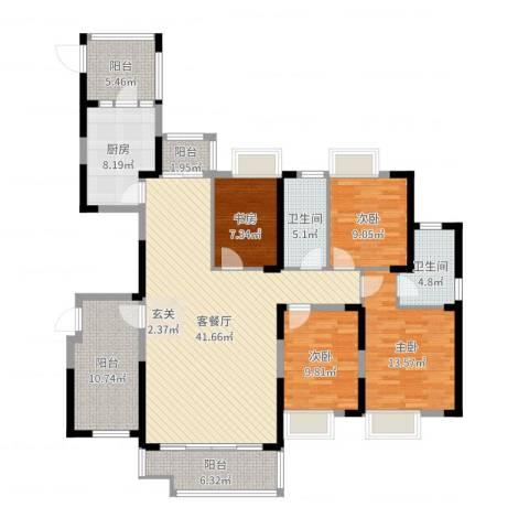 锦绣龙城八期鎏园4室2厅2卫1厨155.00㎡户型图