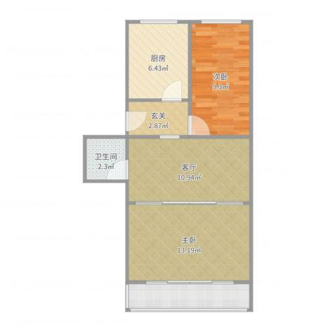 古城西路小区15号楼2室1厅1卫1厨62.00㎡户型图