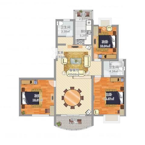 金色水岸花园3室2厅2卫1厨150.00㎡户型图