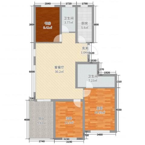 恒信巴塞小镇3室2厅2卫1厨115.00㎡户型图