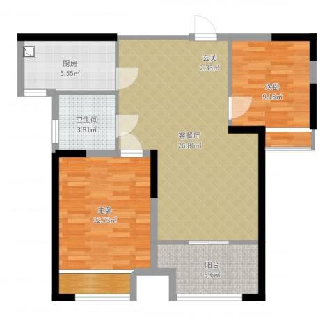 衢州恒大御景半岛2室2厅1卫1厨82.00㎡户型图