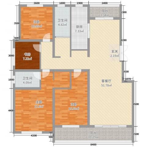 恒信巴塞小镇4室2厅2卫1厨173.00㎡户型图