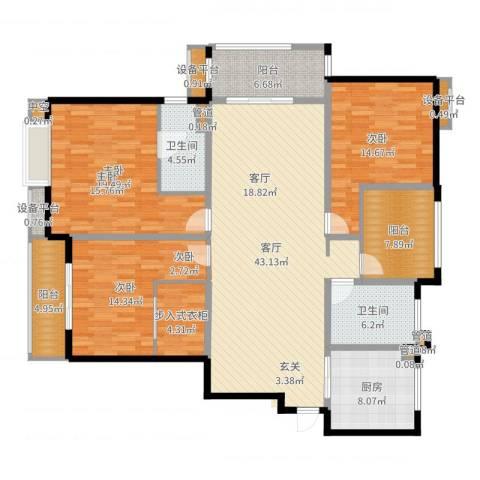 世茂君望墅3室1厅2卫1厨171.00㎡户型图