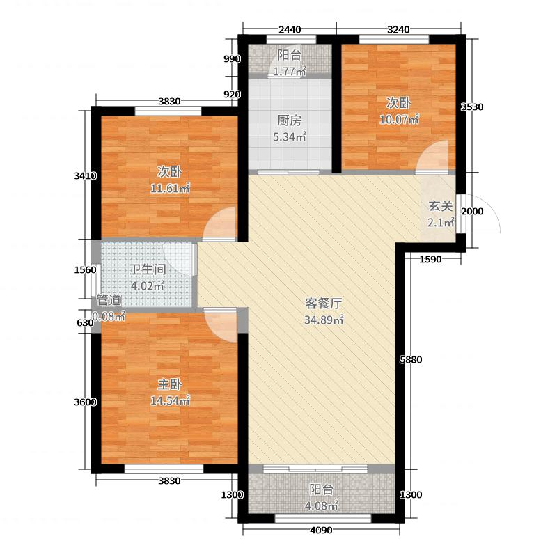 中海广场108.00㎡标准层B户型3室3厅1卫1厨