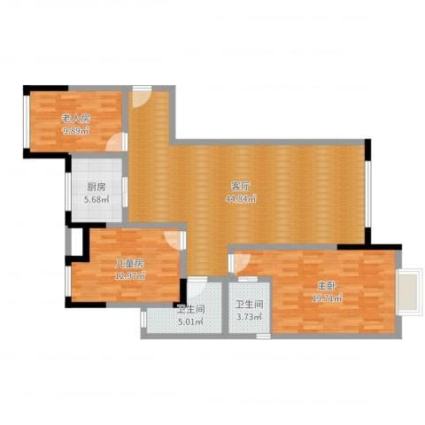 万和华府3室1厅2卫1厨127.00㎡户型图