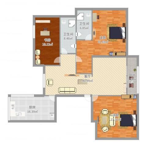 润景花园3室1厅2卫1厨196.00㎡户型图