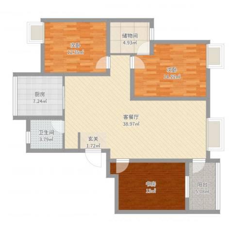 湖东景园3室2厅1卫1厨124.00㎡户型图