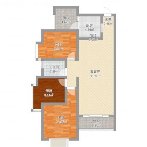 苹果公馆3室2厅1卫1厨101.00㎡户型图